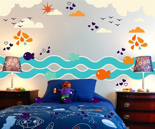 Fish Birds Waves Cloud Wall Decal Kit   Nursery Room Decor   Wall Fabric    Vinyl Decal   Removable And Reusable