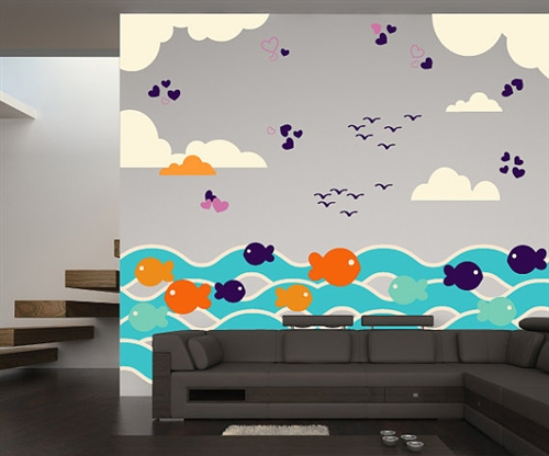fish with waves and birds wall decal kit nursery room decor wall
