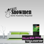 Free Snowmen Some Assembly Required Christmas Holiday Wall Decals - Wall Quotes - Wall Murals HD038 SWD