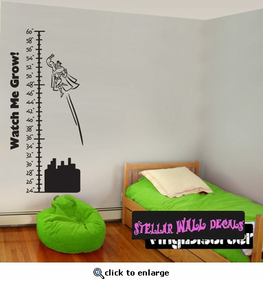 Chart Super Hero Superman Buildings Watch Me Grow Text Child Teen - Superhero wall decals application
