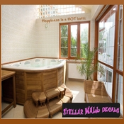 Happiness is a hot bath! Wall Quote Mural Decal SWD