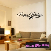 Happy Holidays Christmas Holiday Wall Decals - Wall Quotes - Wall Murals HD035 SWD
