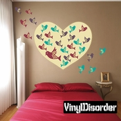 Heart With Colorful Birds Wall Decal Kit - Nursery Room Decor -Wall Fabric - Vinyl Decal - Removable and Reusable
