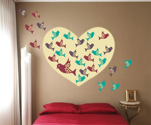 Heart With Colorful Birds Wall Decal Kit   Nursery Room Decor  Wall Fabric    Vinyl Decal   Removable And Reusable