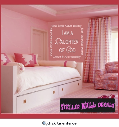 I am a Daughter of God Tile Layouts Vinyl Wall Decal Sticker Mural Quotes Words TL038 SWD