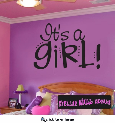 It�s a Girl Baby Shower Text Celebrations Wall Decals - Wall Quotes - Wall Murals CE002ItsagirlVIII SWD