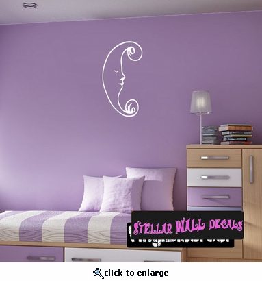 Moon Moons Full Crescent Waxing Waning Gibbous Vinyl Wall Decal - Wall Mural - Car Sticker MoonsCF12038 SWD