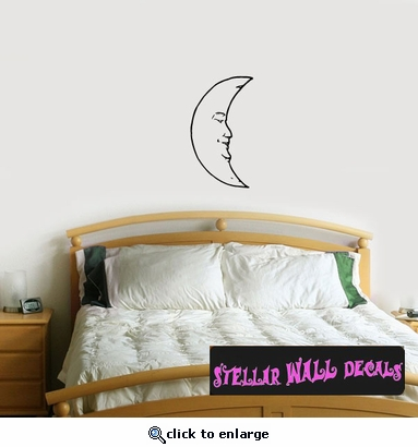 Moon Moons Full Crescent Waxing Waning Gibbous Vinyl Wall Decal - Wall Mural - Car Sticker MoonsCF12058 SWD