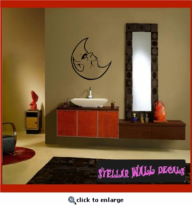 Moon Moons Full Crescent Waxing Waning Gibbous Vinyl Wall Decal - Wall Mural - Car Sticker MoonsCF12079 SWD