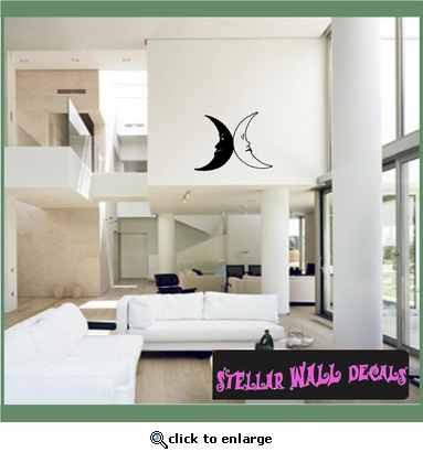 Moon Moons Full Crescent Waxing Waning Gibbous Vinyl Wall Decal - Wall Mural - Car Sticker MoonsCF12088 SWD