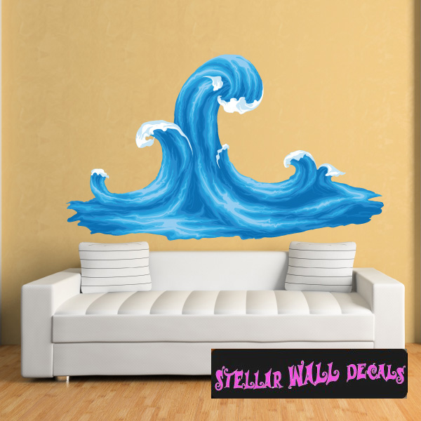 ocean waves wall decal - wall fabric - repositionable decal - vinyl
