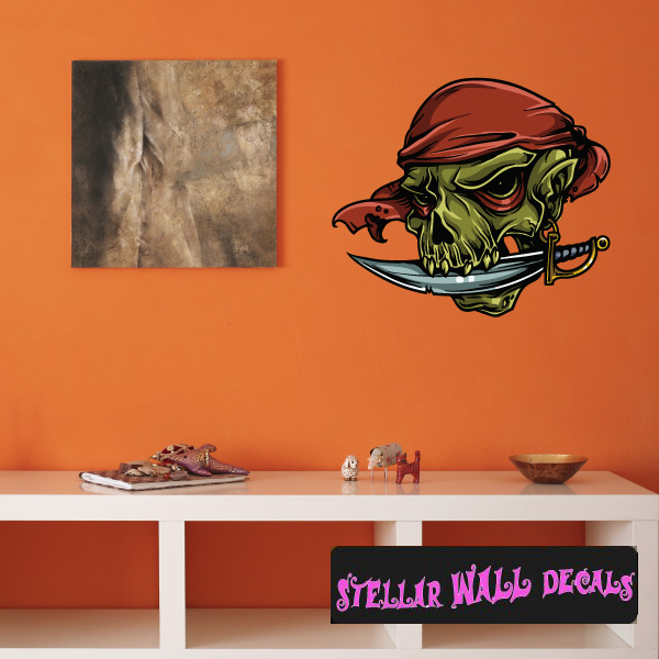 pirate skull wall decal - wall fabric - repositionable decal - vinyl