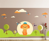 Puppy With Trees and Clouds Wall Decal Kit - Nursery Room Decor - Wall Fabric - Vinyl Decal - Removable and Reusable