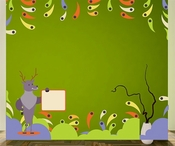 Reindeer With Trees and Fishes Wall Decal Kit - Nursery Room Decor -Wall Fabric -Vinyl Decal -Removable and Reusable