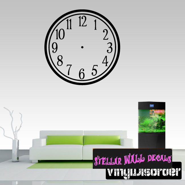 wall clocks sim[le numbers clock faces face wall decals - wall