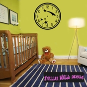 Wall clocks simple numbers with shooting stars Planets Clock Faces Face Wall Decals - Wall Quotes - Wall Murals CF011 SWD