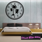 Wall clocks with monkey and palm trees monkeys tropical scene Clock Faces Face Wall Decals - Wall Quotes - Wall Murals CF015 SWD