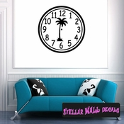 Wall clocks with palm tree tropical scene  simple numbers Clock Faces Face Wall Decals - Wall Quotes - Wall Murals CF013 SWD
