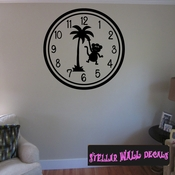 Wall clocks with palm trees tropical scene with monkey Clock Faces Face Wall Decals - Wall Quotes - Wall Murals CF014 SWD