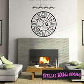 Wall clocks with text enjoy each moment Clock Faces Face Wall Decals - Wall Quotes - Wall Murals CF007 SWD