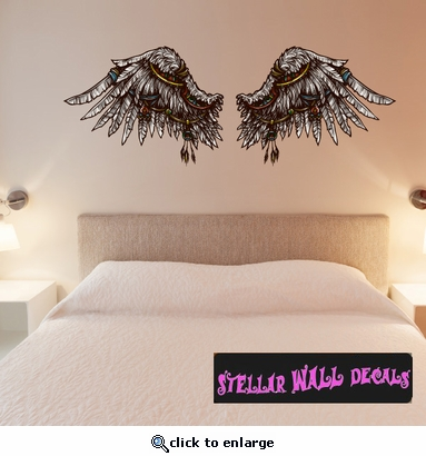 Wings Wall Decal - Wall Fabric - Repositionable Decal - Vinyl Car Sticker - usc006