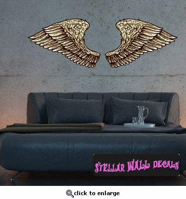Wings Wall Decal - Wall Fabric - Repositionable Decal - Vinyl Car Sticker - usc008