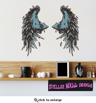 Wings Wall Decal - Wall Fabric - Repositionable Decal - Vinyl Car Sticker - usc030