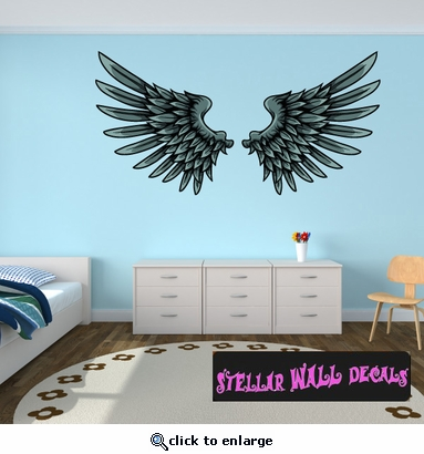 Wings Wall Decal - Wall Fabric - Repositionable Decal - Vinyl Car Sticker - usc032
