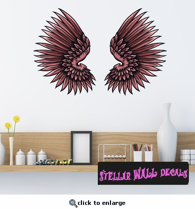Wings Wall Decal - Wall Fabric - Repositionable Decal - Vinyl Car Sticker - usc036