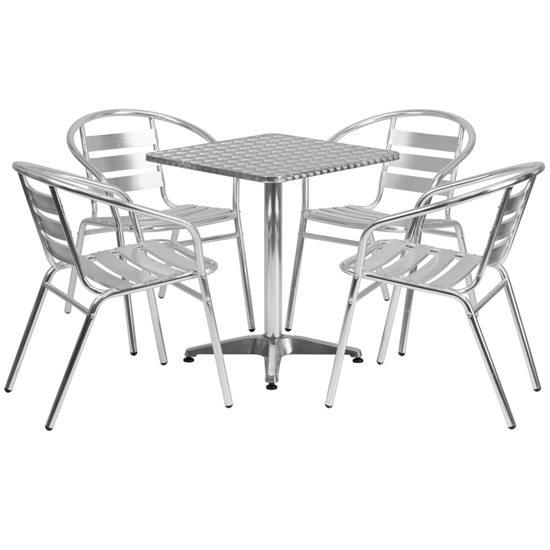 23 5 Square Aluminum Indoor Outdoor Table Set with 4