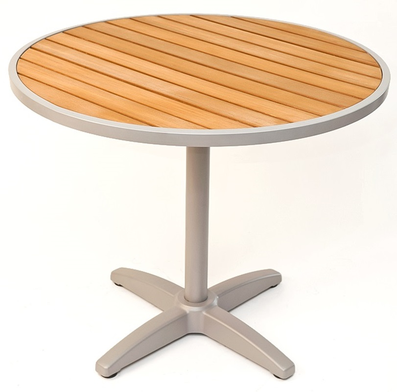 24''D Synthetic Teak Outdoor Table Top with Silver Base ...
