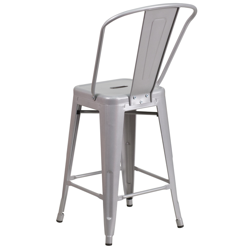 Counter Height Outdoor Stools : 24 High Silver Metal Indoor-Outdoor Counter Height Stool with Back ...
