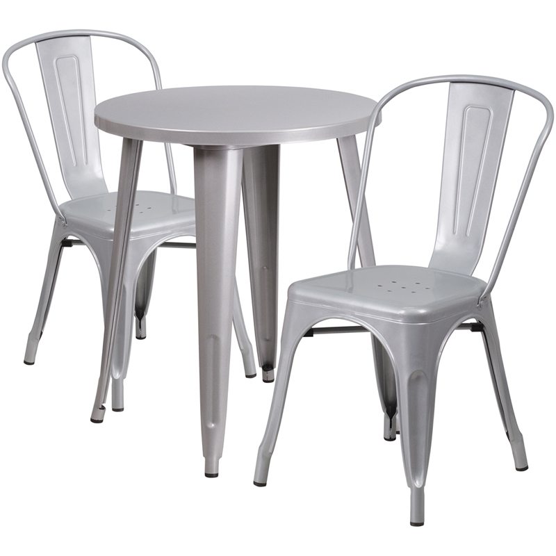 24 Round Silver Metal Indoor Outdoor Table Set with 2