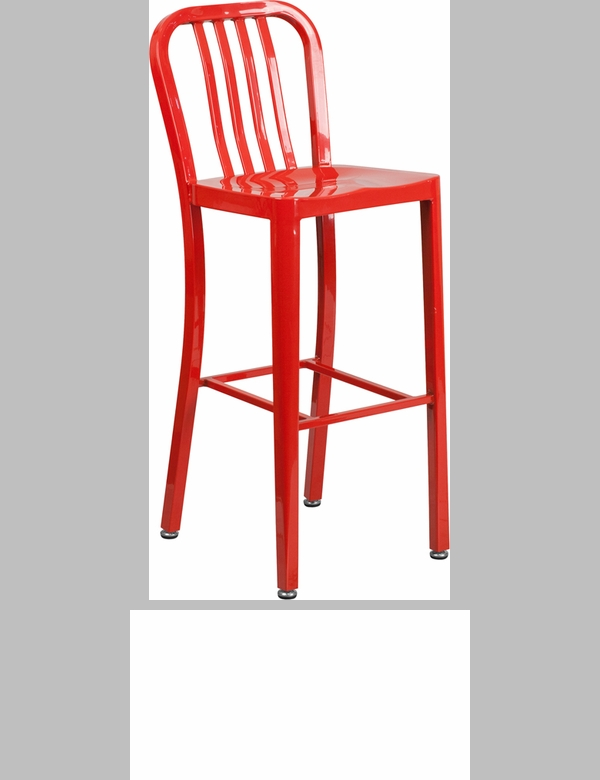 Red Metal Indoor Outdoor Chair Ch 61200 18 Red Gg