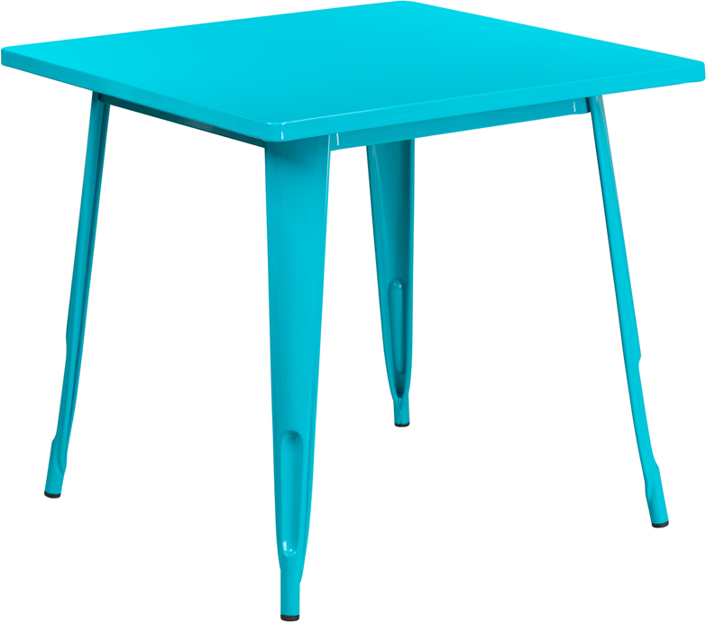 31 5 Square Crystal Teal Blue Metal Indoor Outdoor Table Set With 4 Stack Chairs Et Ct002 4