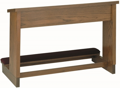Stained Red Oak Double Prayer Desk with Upholstered Padded Kneeler [TPD-207D-TRN]