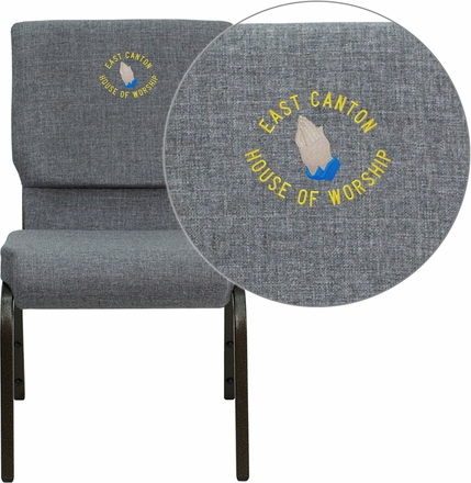 Embroidered HERCULES Series 18.5''W Stacking Church Chair in Gray Fabric - Gold Vein Frame [XU-CH-60096-BEIJING-GY-EMB-GG]