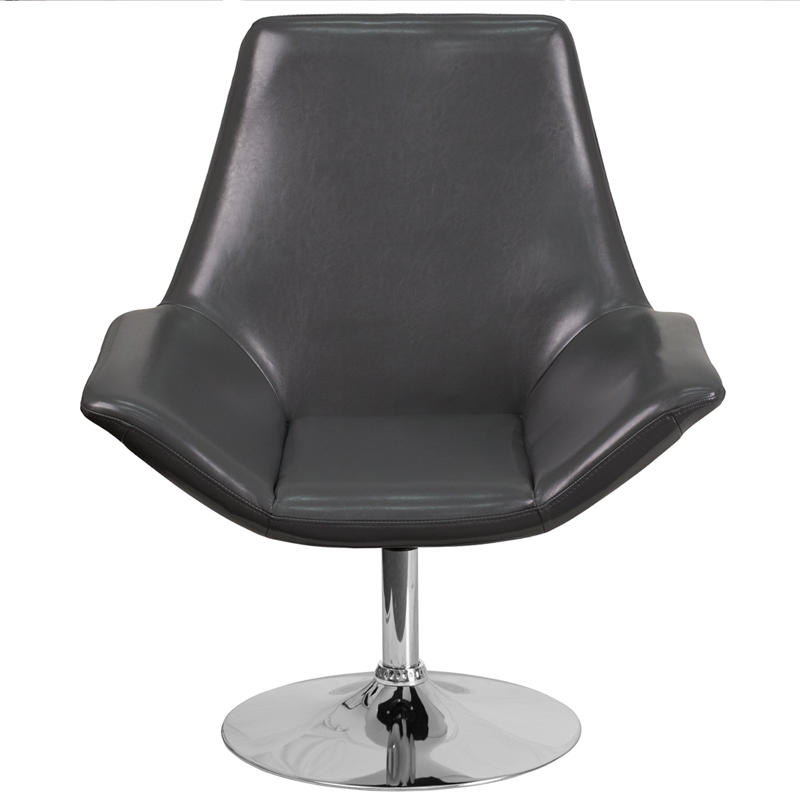 Hercules Sabrina Series Gray Leather Side Reception Chair Ch 102242 Gy Gg