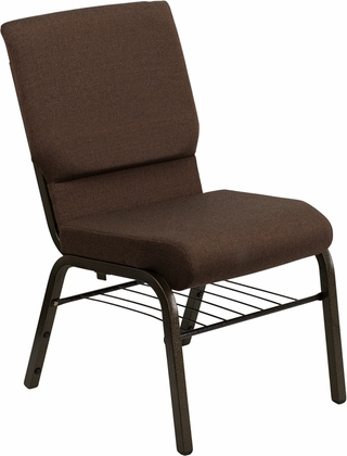 HERCULES Series 18.5''W Brown Fabric Church Chair with 4.25'' Thick Seat,Book Rack - Gold Vein Frame [XU-CH-60096-BN-BAS-GG]