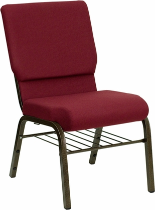 HERCULES Series 18.5''W Burgundy Fabric Church Chair with 4.25'' Thick Seat,Book Rack - Gold Vein Frame [XU-CH-60096-BY-BAS-GG]