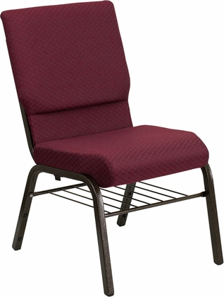 HERCULES Series 18.5''W Burgundy Patterned Fabric Church Chair with 4.25'' Thick Seat,Book Rack - Gold Vein Frame [XU-CH-60096-BYXY56-BAS-GG]