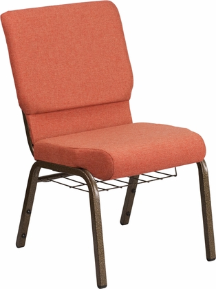 HERCULES Series 18.5''W Cinnamon Fabric Church Chair with 4.25'' Thick Seat,Book Rack - Gold Vein Frame [FD-CH02185-GV-CIN-BAS-GG]
