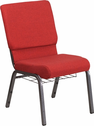 HERCULES Series 18.5''W Red Fabric Church Chair with 4.25'' Thick Seat,Cup Book Rack - Silver Vein Frame [FD-CH02185-SV-RED-BAS-GG]