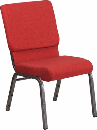 HERCULES Series 18.5''W Red Fabric Stacking Church Chair with 4.25'' Thick Seat - Silver Vein Frame [FD-CH02185-SV-RED-GG]