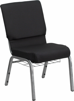 HERCULES Series 18.5''W Black Patterned Fabric Church Chair with 4.25'' Thick Seat,Communion Cup Book Rack - Silver Vein Frame [FD-CH02185-SV-JP02-BAS-GG]