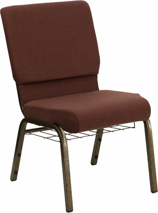 HERCULES Series 18.5''W Brown Fabric Church Chair with 4.25'' Thick Seat,Communion Cup Book Rack - Gold Vein Frame [FD-CH02185-GV-10355-BAS-GG]