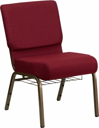 HERCULES Series 21'' Extra Wide Burgundy Fabric Church Chair with 4'' Thick Seat,Communion Cup Book Rack - Gold Vein Frame [FD-CH0221-4-GV-3169-BAS-GG]