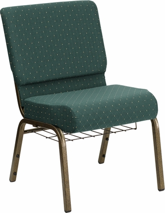 HERCULES Series 21'' Extra Wide Hunter Green Dot Patterned Fabric Church Chair with 4'' Thick Seat,Communion Cup Book Rack - Gold Vein Frame [FD-CH0221-4-GV-S0808-BAS-GG]