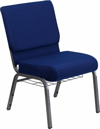 HERCULES Series 21''W Church Chair in Navy Blue Fabric with Cup Book Rack - Silver Vein Frame [FD-CH0221-4-SV-NB24-BAS-GG]