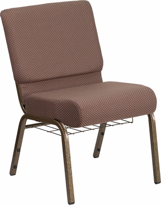 HERCULES Series 21'' Wide Brown Dot Fabric Church Chair with 4'' Thick Seat,Book Rack - Gold Vein Frame [FD-CH0221-4-GV-BNDOT-BAS-GG]